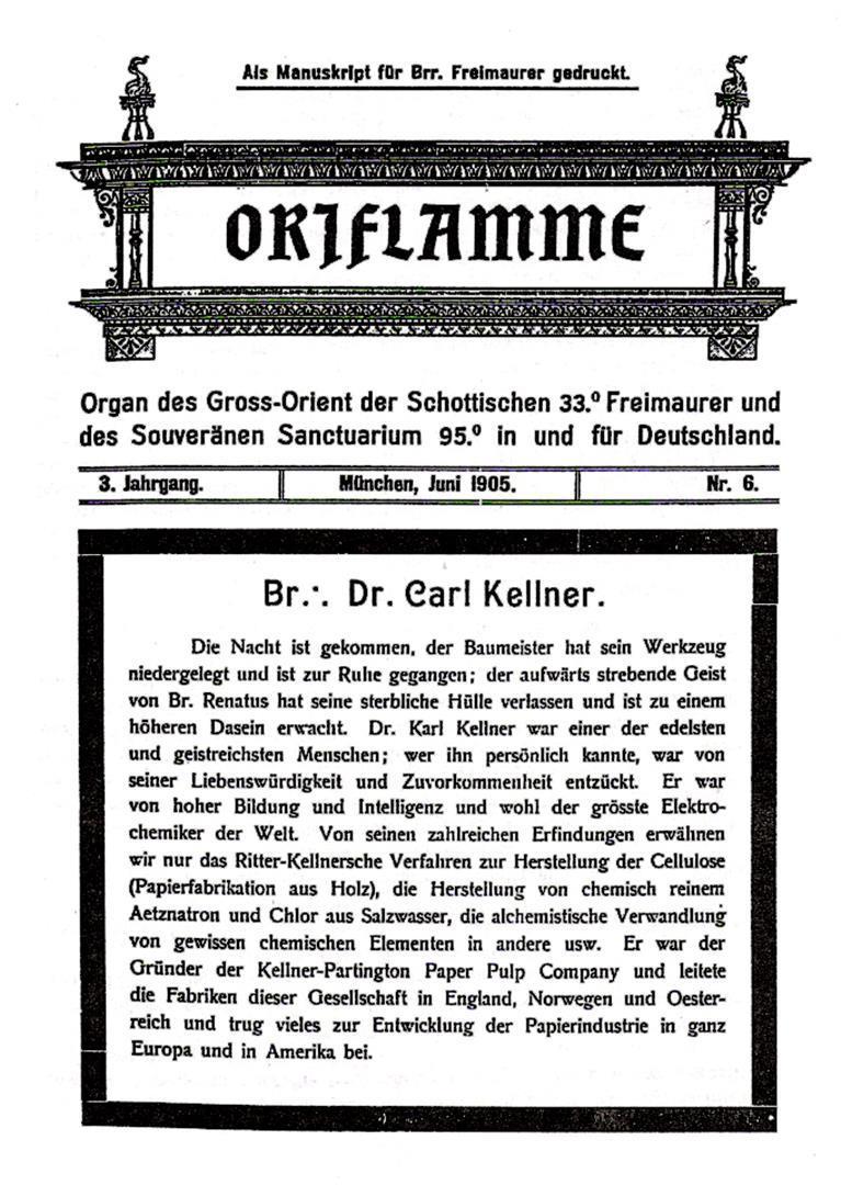 Carl Kellner Oriflamme Todesanzeige