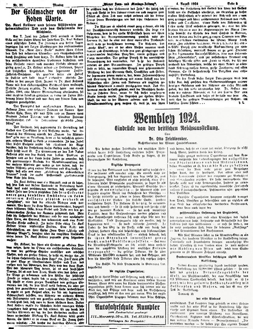 Carl Kellner Goldmacher Wiener Sonn- und Montags-Zeitung 1924