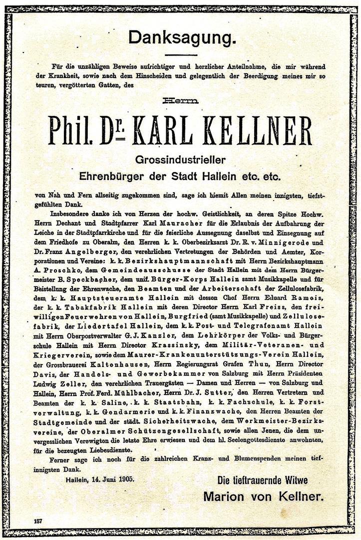 Phil. Dr. Carl Kellner Danksagung
