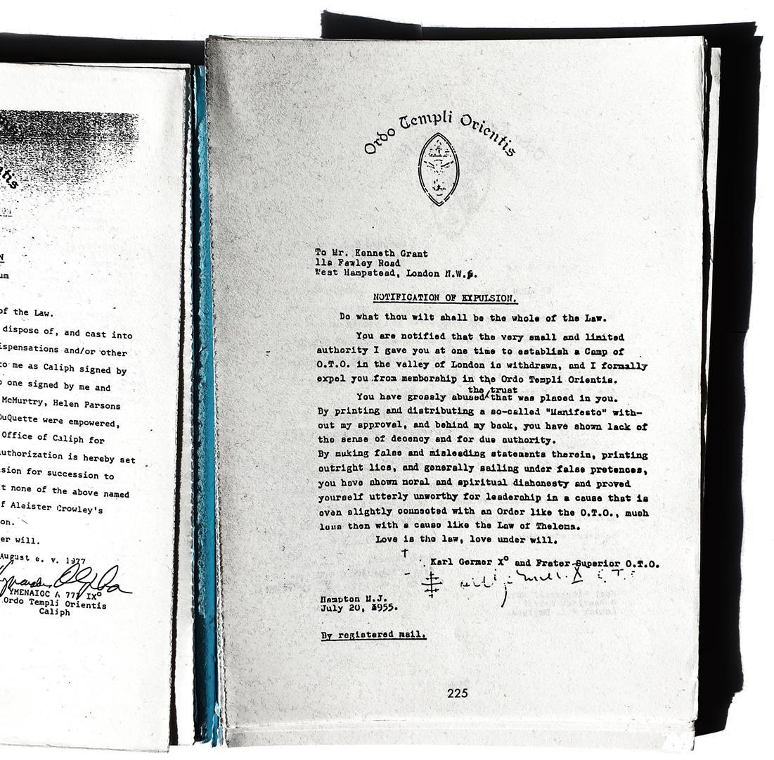 Karl Germer Kenneth Grant Notification of Expulsion 1955 Ordo Templi Orientis