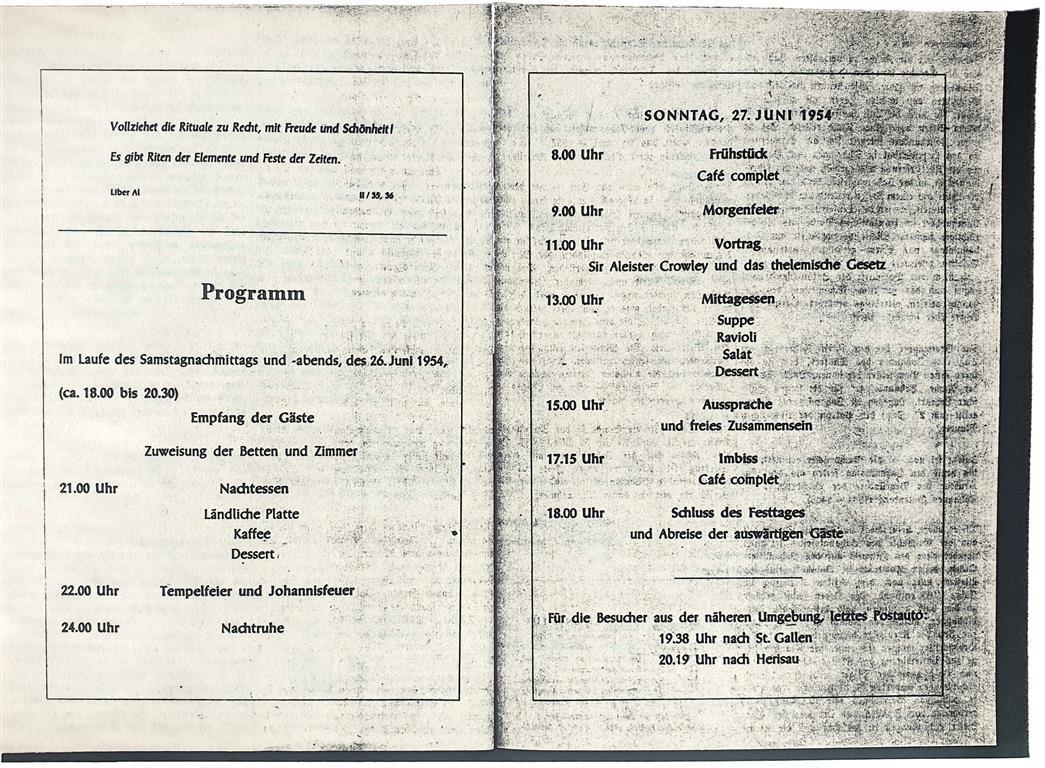 O.T.O. Schweiz 1954 Tempelfeier Aleister Crowley