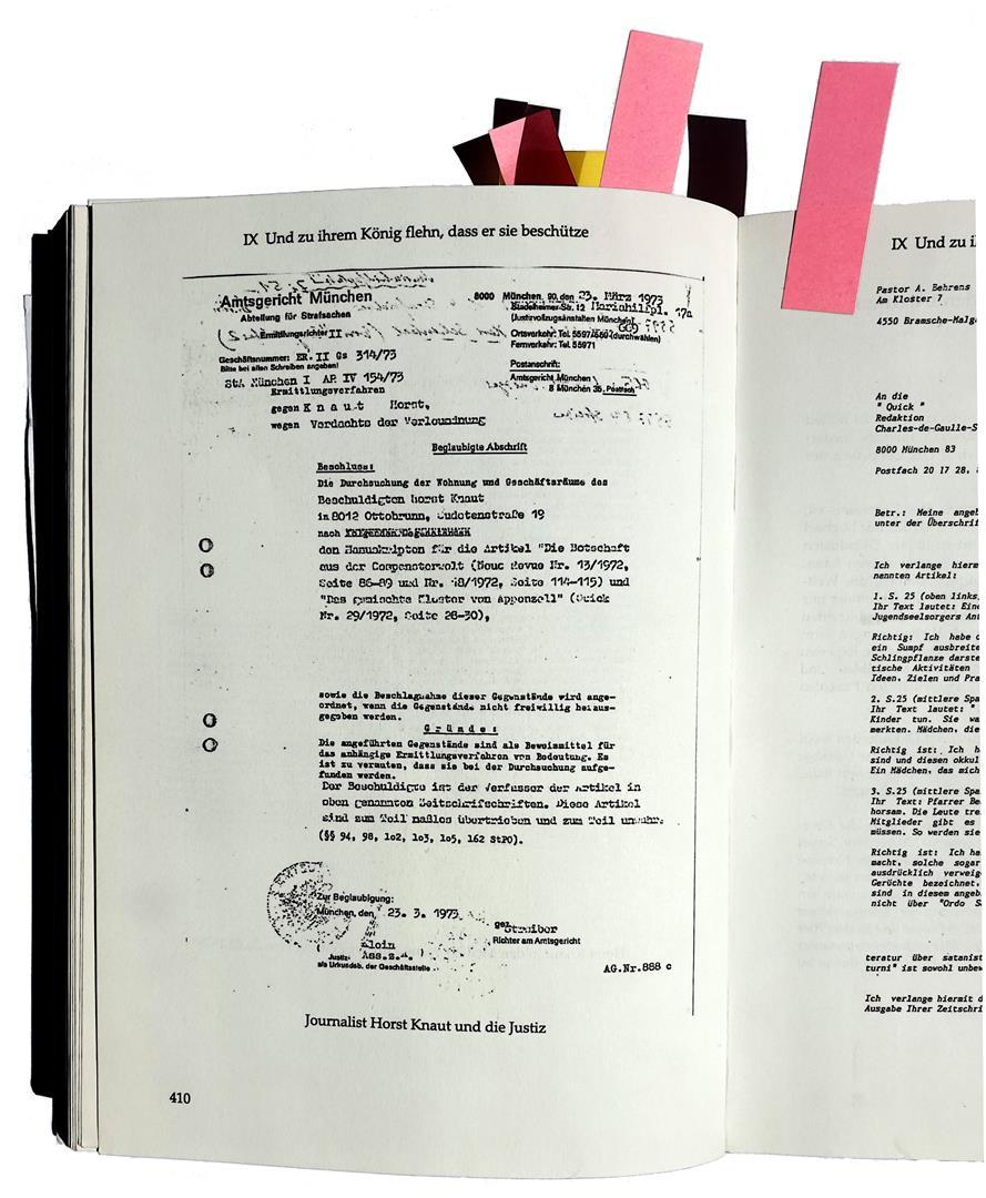 Hermann Joseph Metzger + Anita Borgert (Ordo Templi Orientis) versus Horst Knaut (Journalist), Andreas Huettl, Peter-R. Koenig, SATAN — Jünger, Jäger und Justiz
