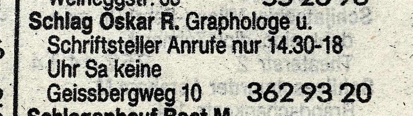 Oskar R. Schlag Telephone Directory