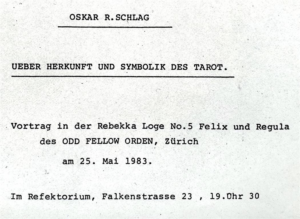 Oskar Schlag Tarot 1983