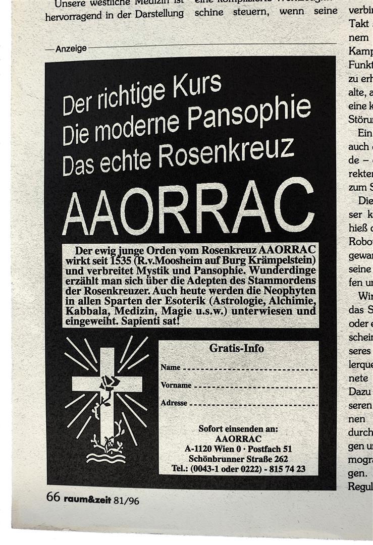 Antiqua Arcanae Ordinis Rosae Rubeae et Aureae Cruci, A.A.O.R.R.A.C.