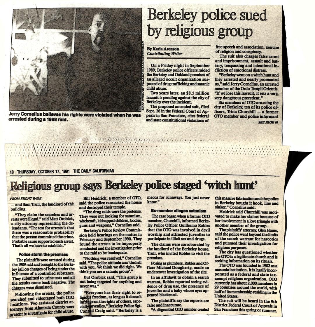 Ordo Templi Orientis on Sept.12th 1990 against Alameda County & the City of Berkeley
