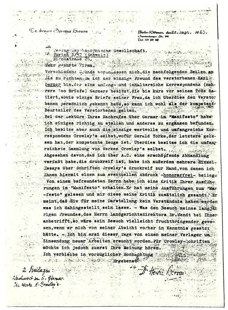 Henry Clemens Birven Psychosophische Gesellschaft