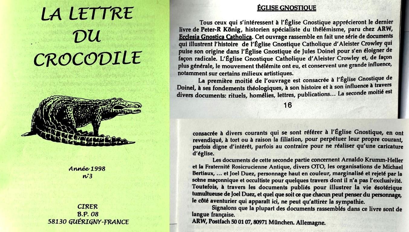 Lettre du Crocodile Peter Robert Koenig Ecclesia Gnostica Catholica EGC