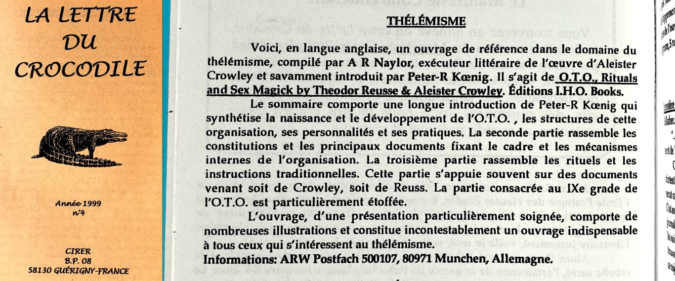 Lettre du Crocodile Theodor Reuss Aleister Crowley Peter Robert Koenig Anthony Naylor O.T.O. Rituals and Sex Magick