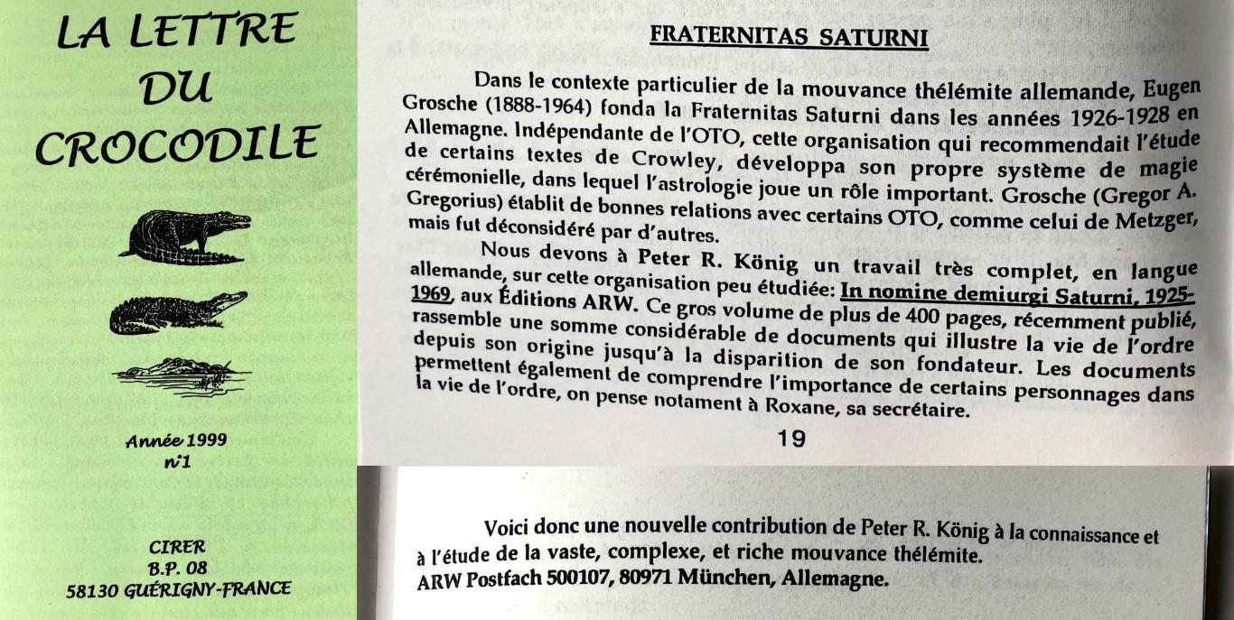 Lettre du Crocodile Peter Robert Koenig In Nomine Demiurgi Saturni