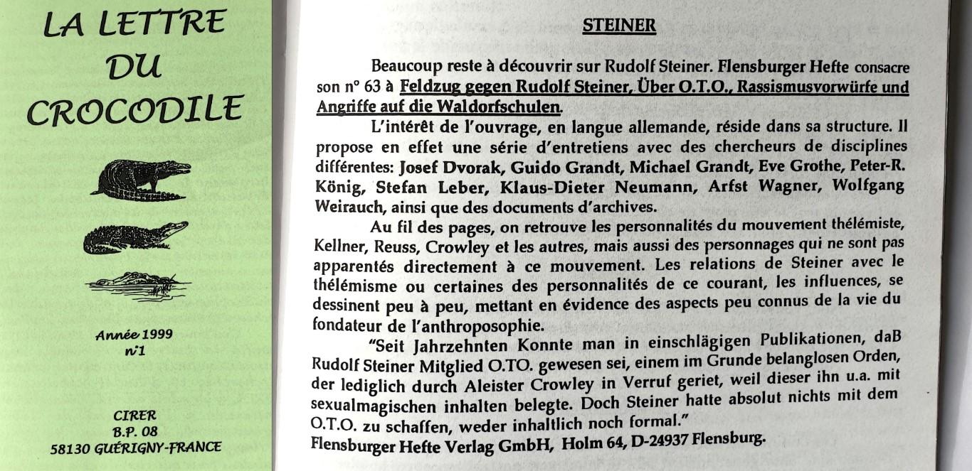 Lettre du Crocodile Flensburger Hefte Peter Robert Koenig Feldzug gegen Rudolf Steiner