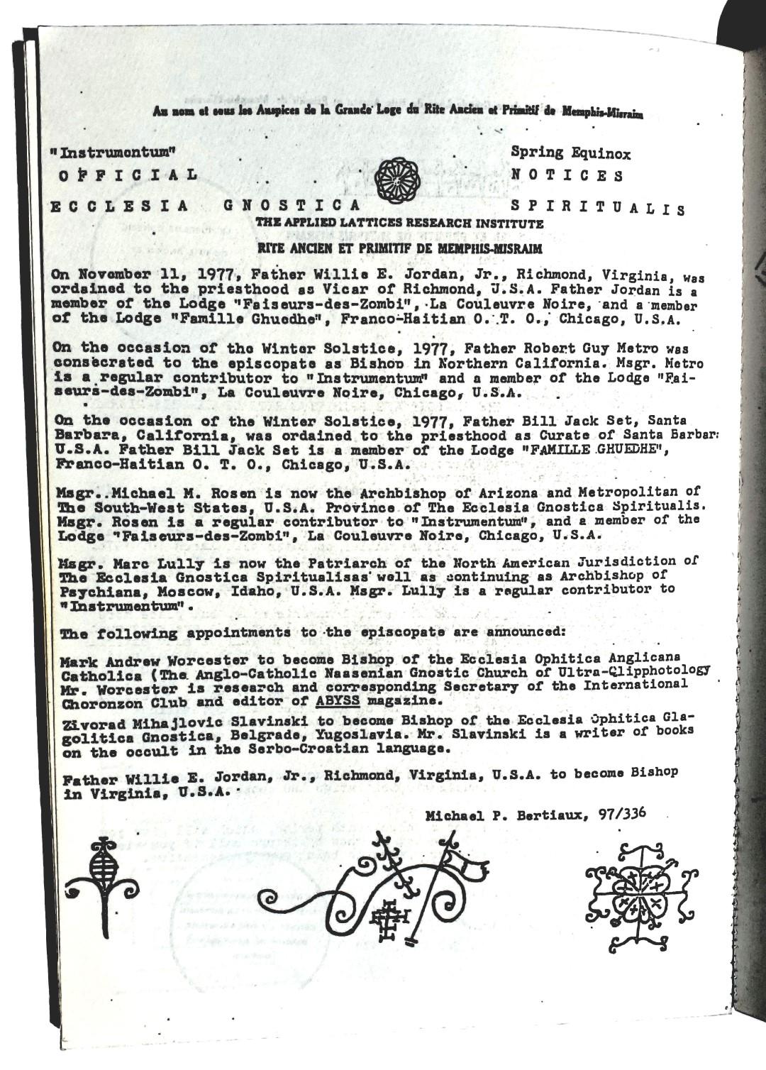 1977-11-11 Michael Paul Bertiaux  Zivorad Mihajlovic Slavinski