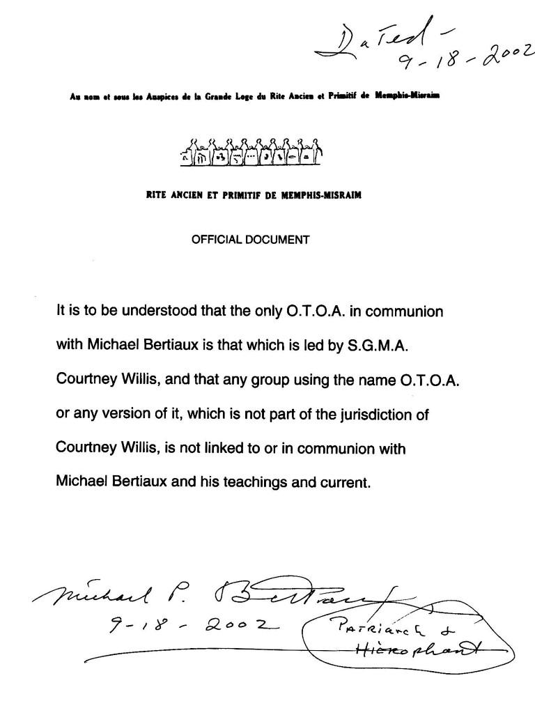 Michael Paul Bertiaux, Manuel Cabrera Lamparter, Courtney Willis, Ordo Templi Orientis Antiqua, O.T.O.A.