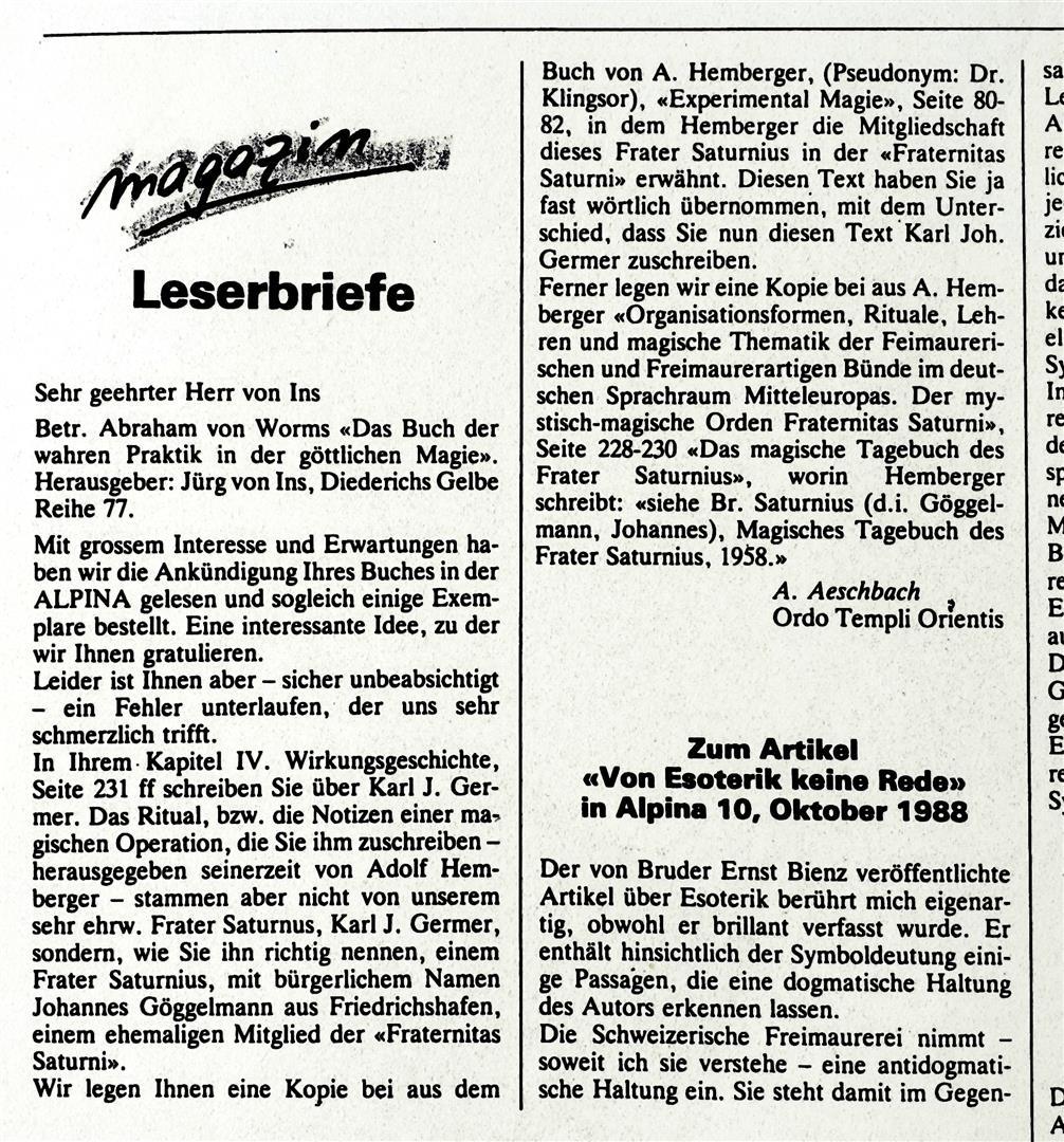 Annemarie Aeschbach, ALPINA, Karl Germer, Juerg von Ins