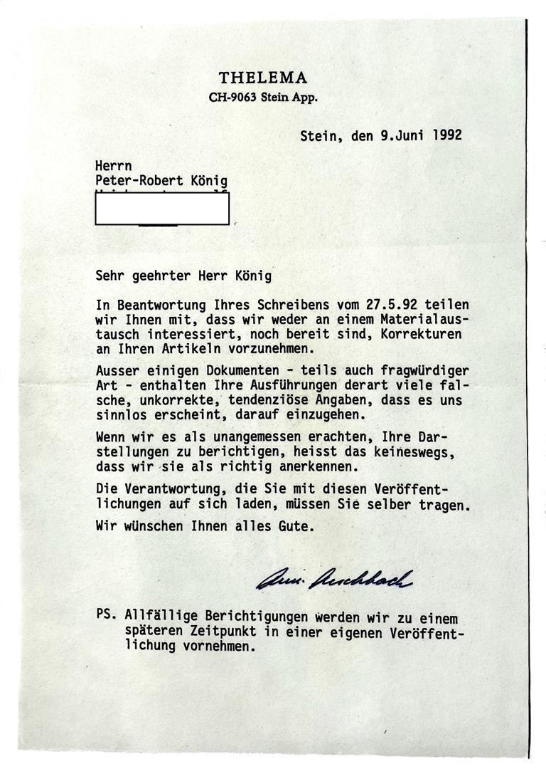 Annemarie Aeschbach Illuminaten Orden Ordo Templi Orientis P.R. Koenig