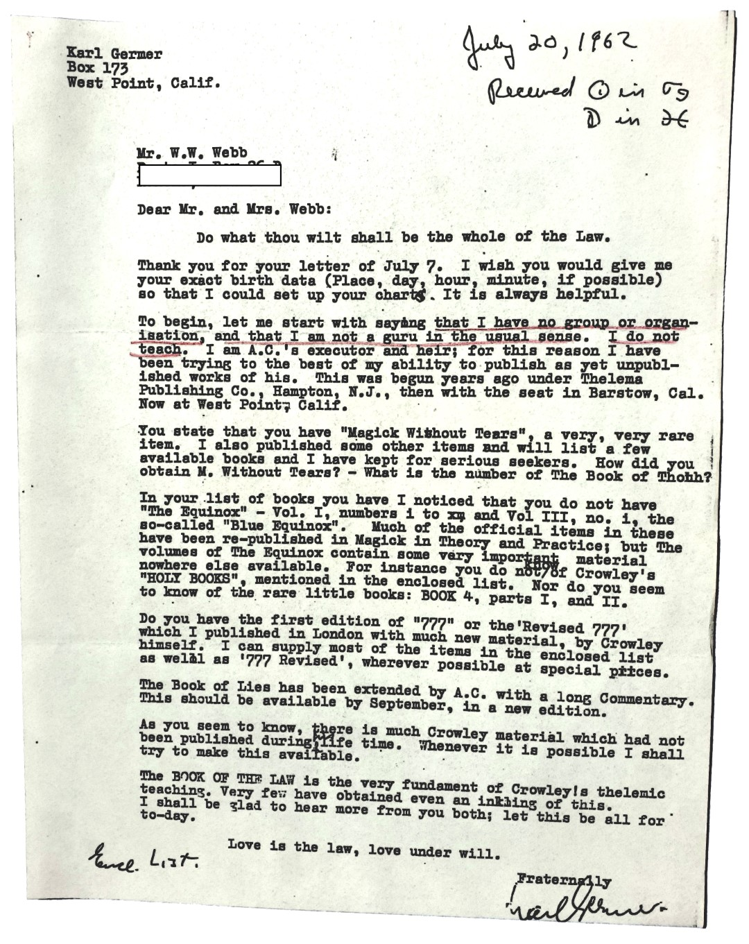 Karl Germer William Wallace Webb 1962 July 20