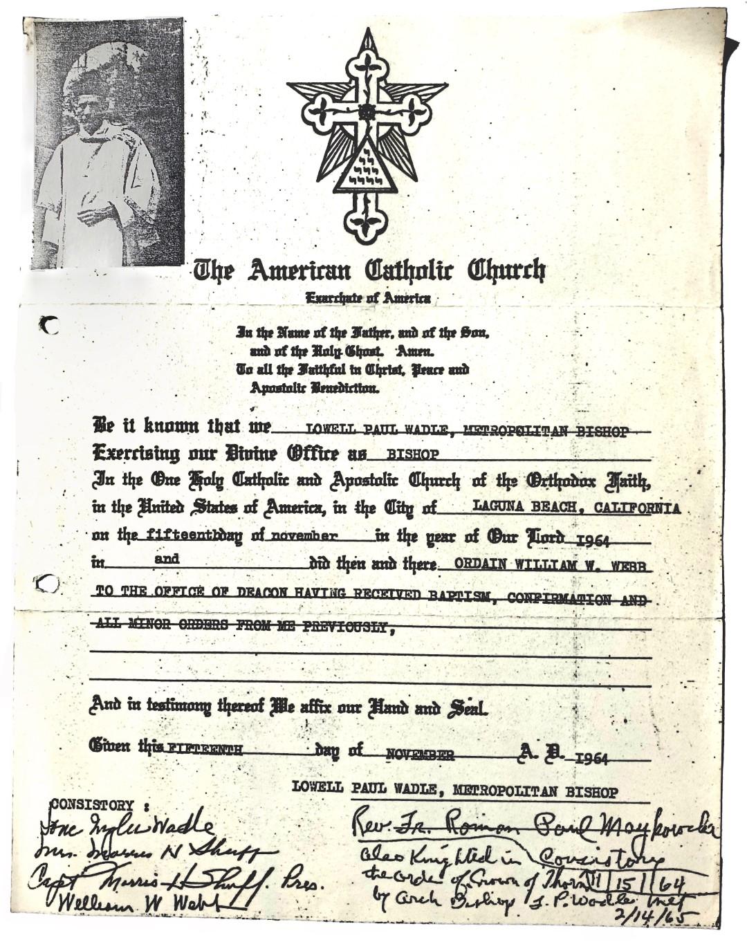 The American Catholic Church William Wallace Webb Lowell Paul Wadle
