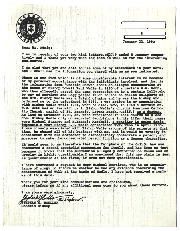 Stephan A Hoeller William Wallace Webb 1990 January 22