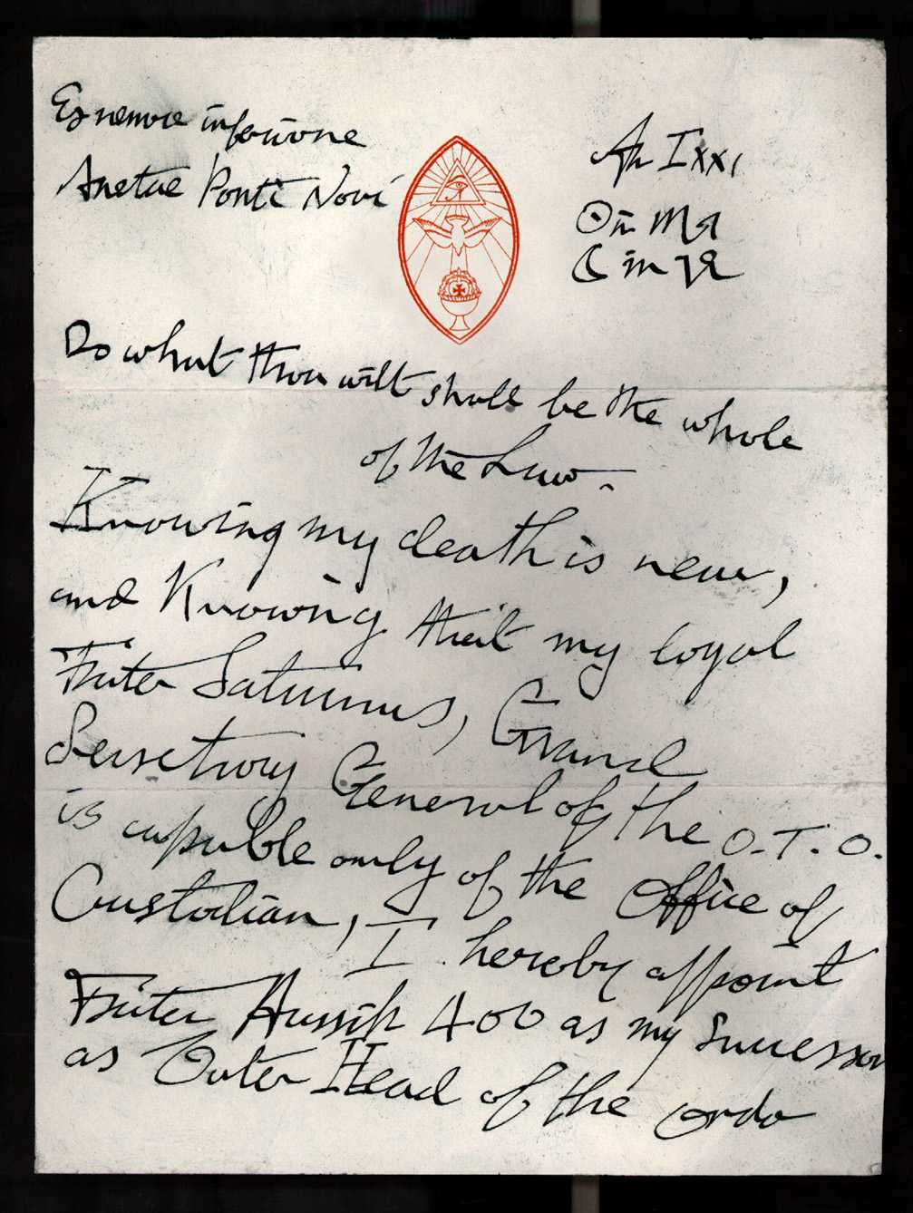 forged Aleister Crowley document - page 1
