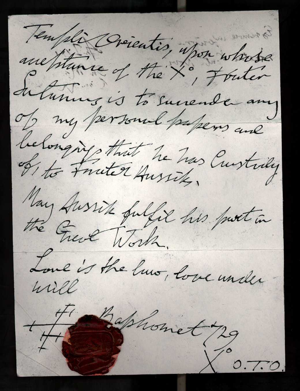 forged Aleister Crowley document - page 2