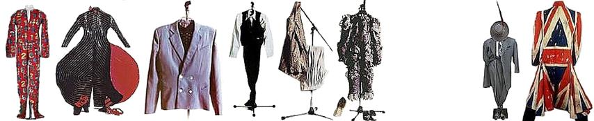 David Bowie stage costumes Ziggy Stardust (1971–72), Aladdin Sane (1972–73), Halloween Jack (Diamond Dog) (1974), The Thin White Duke (1976), The Svelte Lounge Lizard (1978), Ashes To Ashes (1980), Serious Moonlight (1983 David Robert Jones), Earthling