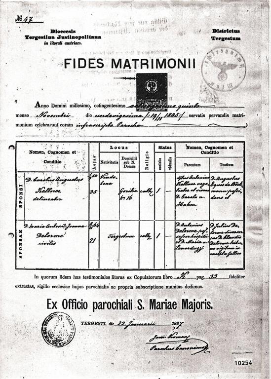 Carl Kellner Maria Antoinette Delorme Fides Matrimonii Heiratsurkunde marriage certificate