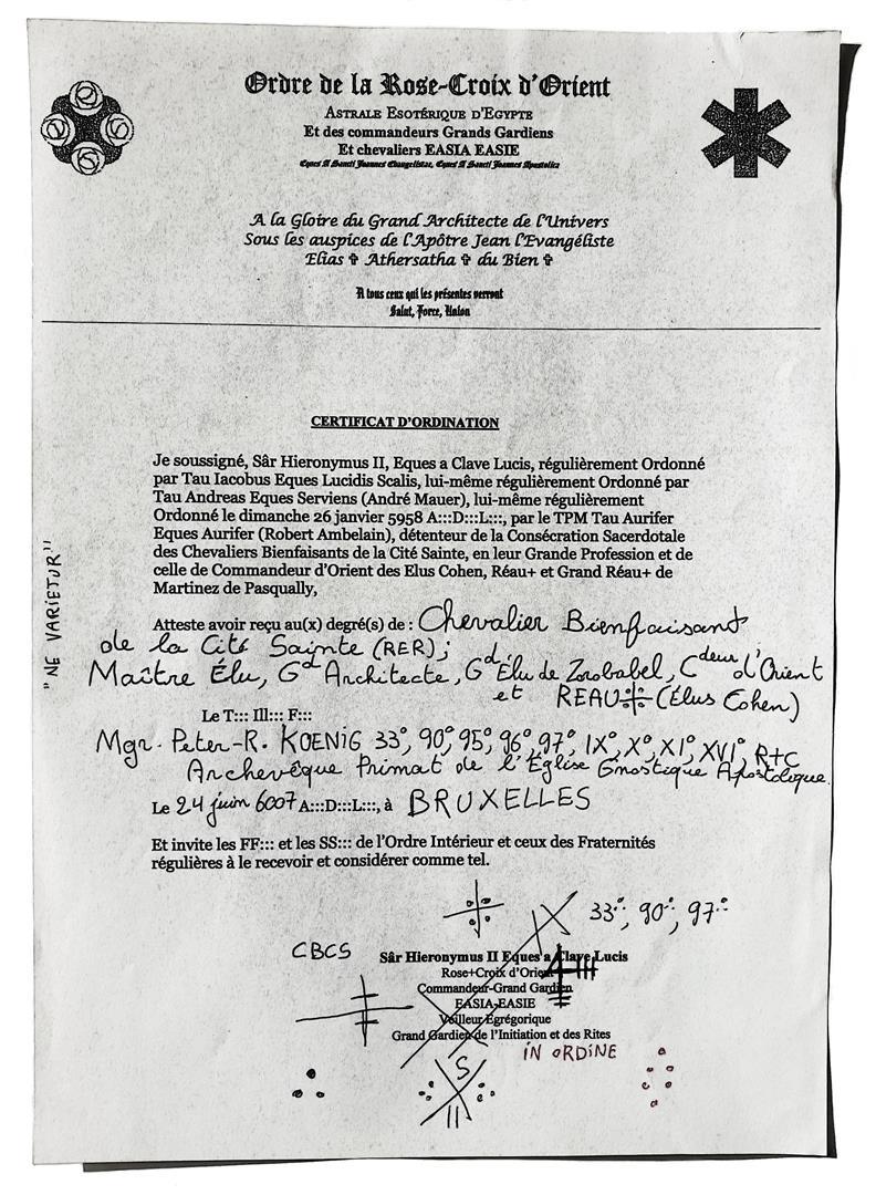 Chevalier Bienfaisant, Maître Elu, Ordre de la Rose-Croix succession Ambelain, Mauer