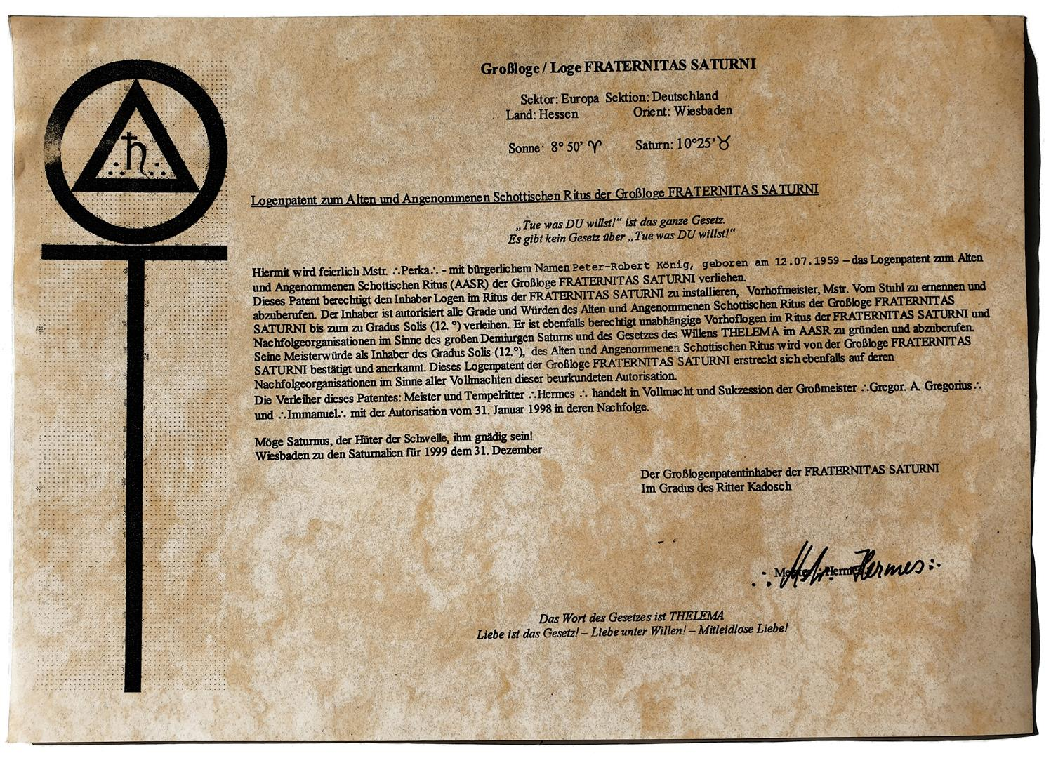 12° A.A.S.R. and Fraternitas Saturni + Right to install Lodges of the F.S.