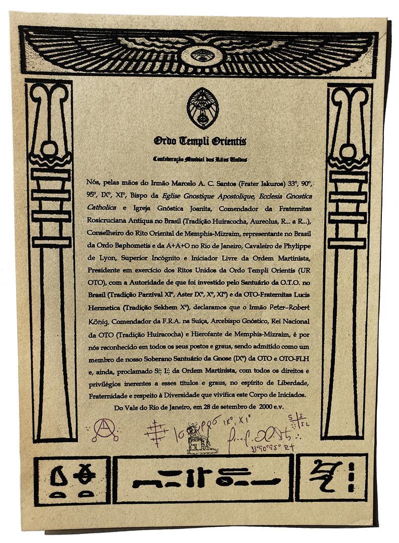 IX° of O.T.O. Brazil, O.T.O.-FLH, and Superieur Inconnu of Martinism