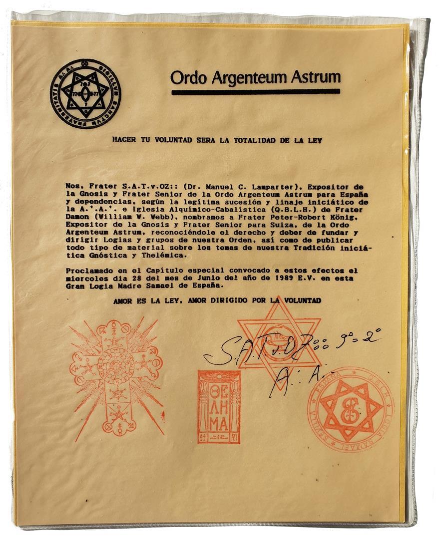 Exposidor de la Gnosis and Frater Senior of O. Argenteum Astrum