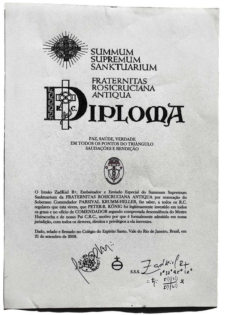 todos os graus e no oficio de Comendador F.R.A. succession Parsival Krumm-Heller