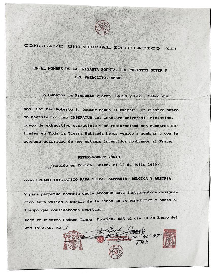 Legate of F.R.A. and O.T.O. Cuba and Florida