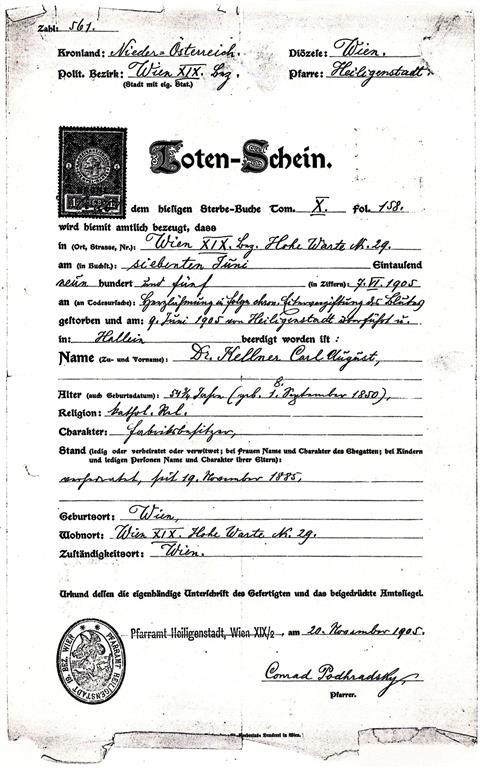 Carl Kellner Totenschein Death Certificate