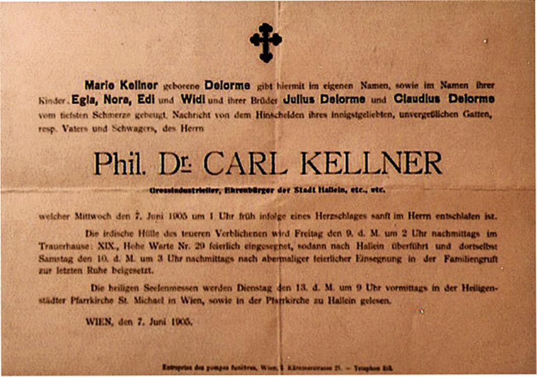 Phil. Dr. Carl Kellner Todesanzeige