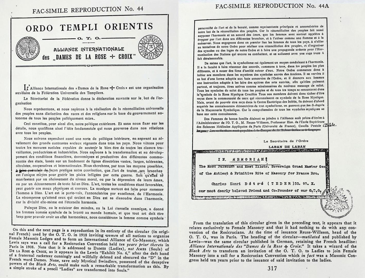 Laban de Laban, Ordo Templi Orientis, International Meeting of the Dames de la Rose+Croix